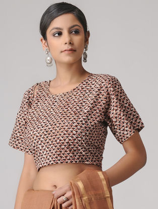 Ivory-Madder Dabu Cotton Blouse by Jaypore