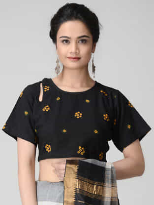 Black-Yellow Bandhani Cotton Blouse by Jaypore