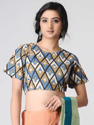Ivory-Blue Block-printed Cotton Blouse by Jaypore