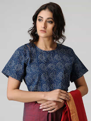 Blue Block-printed Cotton Blouse by Jaypore