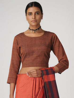 Brown Handloom Cotton Blouse by Jaypore