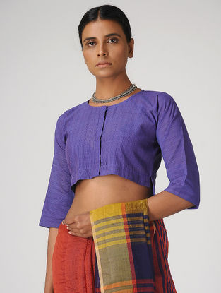 Purple Handloom Cotton Blouse by Jaypore