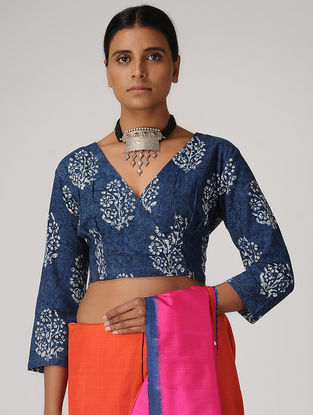 Indigo Dabu-printed Cotton Blouse with Buttons by Jaypore