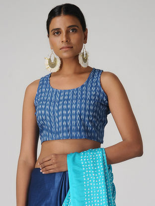 Blue Ikat Cotton Blouse by Jaypore