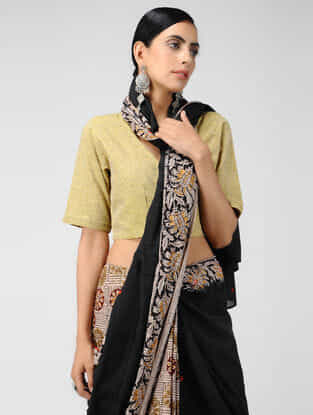 Yellow Handloom Cotton Wrap Blouse