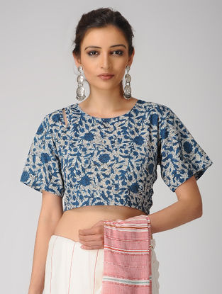 Indigo-Ivory Dabu-printed Cotton Blouse