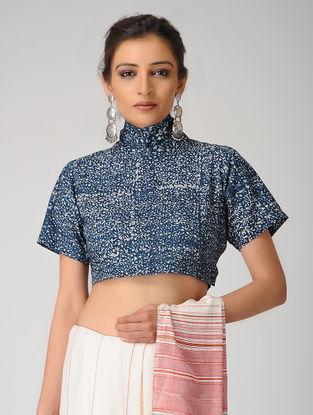 Indigo-Ivory Dabu-printed Cotton Tie-up Blouse