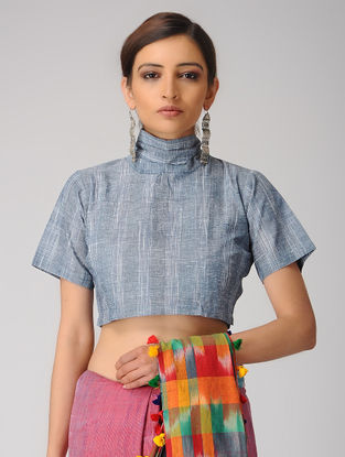 Indigo-Ivory Handloom Cotton Tie-up Blouse