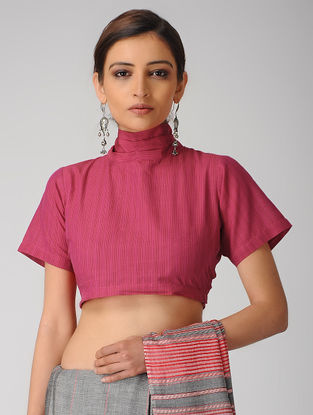 Pink Handloom Cotton Tie-up Blouse