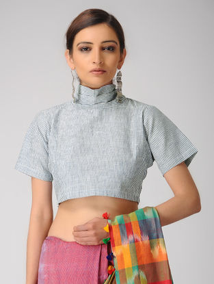 Ivory-Blue Handloom Cotton Tie-up Blouse