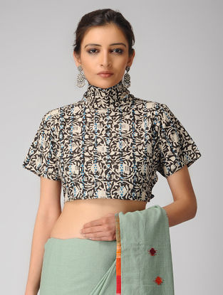 Ivory-Black Block-printed Cotton Blouse