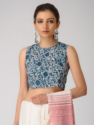 Indigo-Ivory Dabu Cotton Blouse