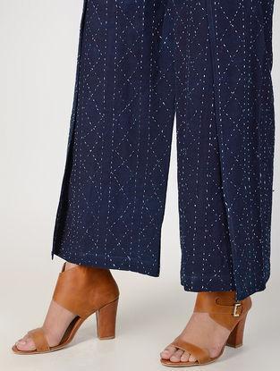Indigo Elasticated-waist Kantha-embroidered Cotton Pallazos with Belt