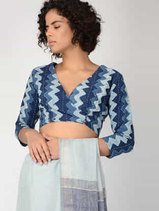 Indigo-Ivory Kantha-embroidered Cotton Blouse
