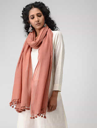 Peach Cotton Dupatta with Tassels