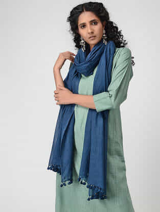 Blue Cotton Dupatta with Tassels