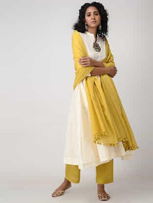 Yellow Cotton Dupatta with Tassels