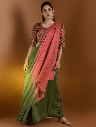 Rust-Indigo Ajrakh Gajji Silk Blouse by Jaypore