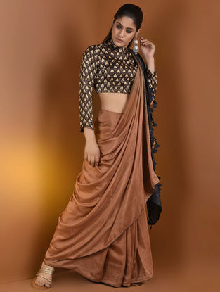 Brown-Beige Ajrakh Gajji Silk Blouse by Jaypore