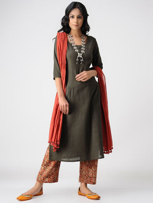 Taupe Handloom Cotton Kurta by Jaypore