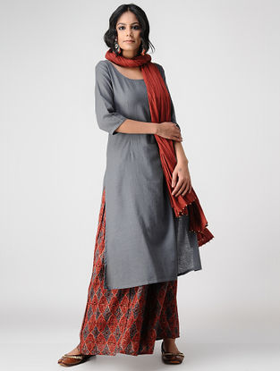 Grey Handloom Cotton Kurta by Jaypore