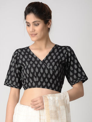 Black-Ivory Tie-up Cotton Ikat Blouse by Jaypore