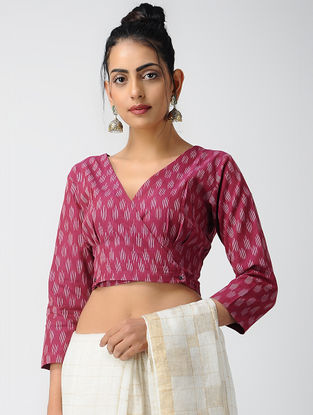 Pink-Ivory Cotton Ikat Blouse with Buttons by Jaypore