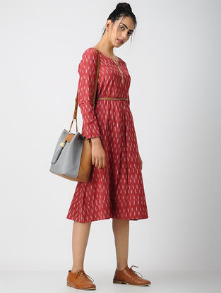 Red-Ivory Cotton Ikat Dress with Pleats by Jaypore