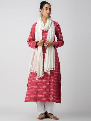 Red-Ivory Cotton Ikat Kurta with Pintucks by Jaypore