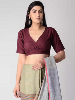 Maroon Handloom Cotton Tie-up Wrap Blouse