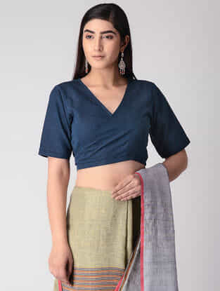 Blue Handloom Cotton Tie-up Wrap Blouse