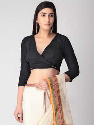 Black Handloom Cotton Blouse