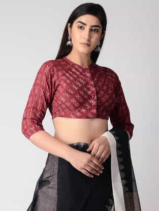 Maroon Cotton Ikat Blouse