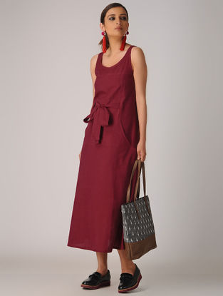 Maroon Cotton Dress with Pockets