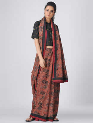 Madder-Black Ajrakh Cotton Constructed Saree by Jaypore