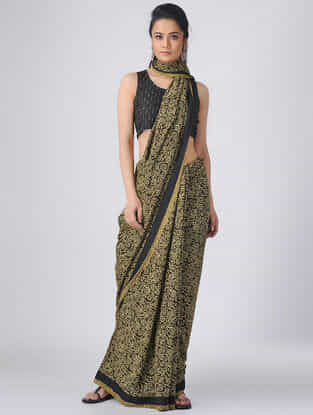 Brown-Mustard Ajrakh Cotton Constructed Saree by Jaypore