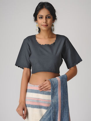 Charcoal Natural-dyed Cotton Blouse