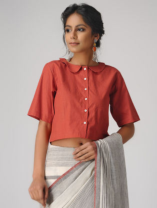 Rust Natural-dyed Cotton Blouse