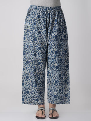 Indigo-Ivory Elasticated-waist Dabu Natural-dyed Cotton Palazzos