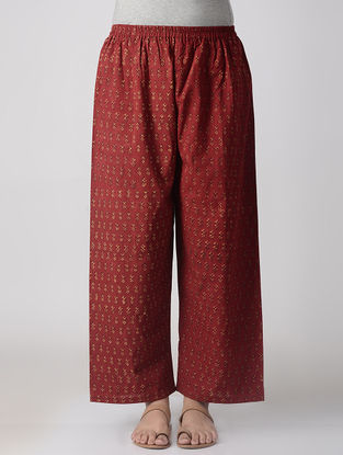 Madder-Yellow Elasticated-waist Block-printed Cotton Palazzos