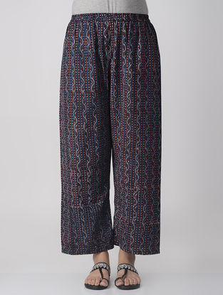 Indigo-Madder Elasticated-waist Dabu Cotton Palazzos