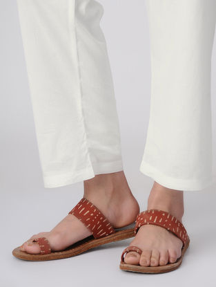 White Tie-up Waist Cotton Pants by Jaypore