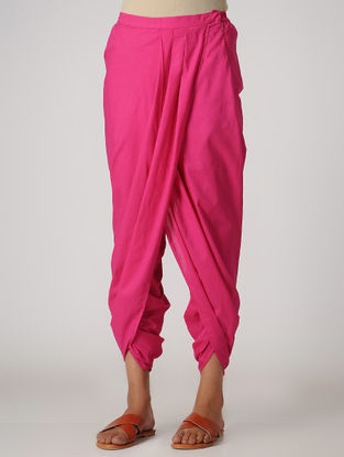 Pink Elasticated-waist Cotton Dhoti Pants by Jaypore