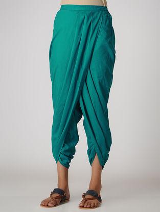 Green Elasticated-waist Cotton Dhoti Pants by Jaypore