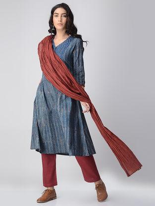 Indigo-Madder Block-printed Cotton Kurta with Pockets by Jaypore