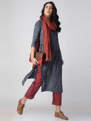 Indigo-Madder Block-printed Cotton Kurta with Tassels by Jaypore
