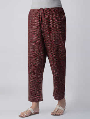 Madder-Ivory Tie-up Waist Block-printed Cotton Pants by Jaypore