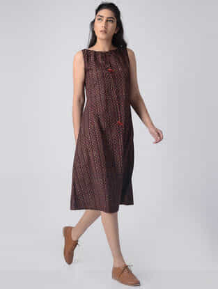 Madder-Ivory Block-printed Cotton Dress by Jaypore