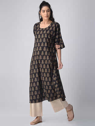 Black-Ivory Block-printed Cotton Kurta by Jaypore