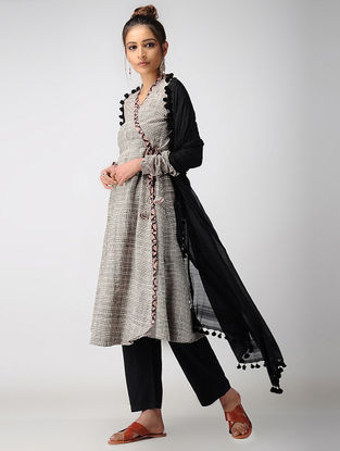 Black-Madder Dabu-printed Cotton Angrakha